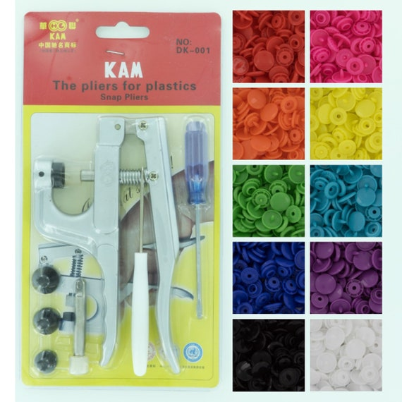 30 Colors 300 Sets KAM Snaps T5 Snap Starter Plastic Popper Fastener Plier