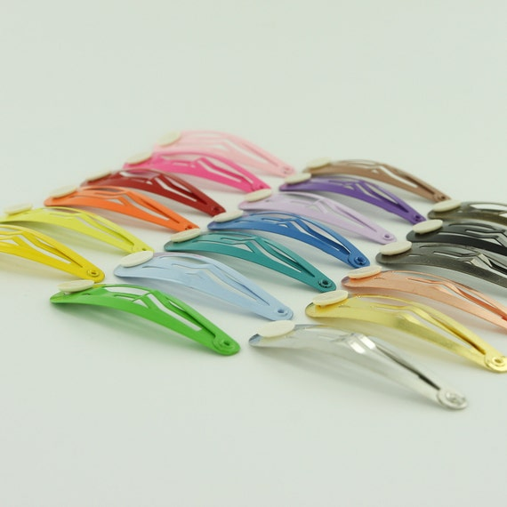 "Choose Your Color 10-2/"" Colorful Hair Snap Clip Barrettes with Glue Pad"