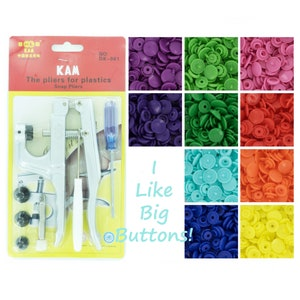 250 KAM Plastic Snaps /& Pliers SUPER STARTER Pack for DiapersBibsNappiesSnappul Pick 1 Pack or 10 Colors of Your Choosing
