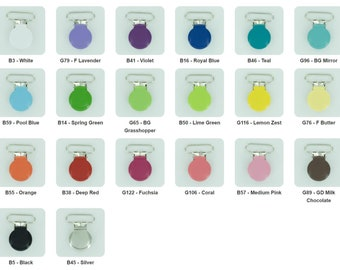 10 Enamel Clips 1 INCH Round Metal Pacifier Clips / Suspender Clips / Paci/Dummy/Bib / Toy Holder Clips