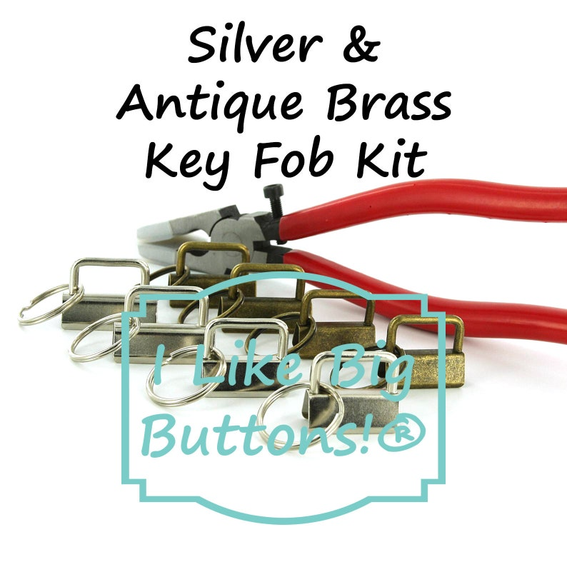 WristletsKey Chain 40 Sets Total Key Fob Hardware 1 and 1.25 Key Fob Hardware Starter Kit with SILVER and ANTIQUE BRASS