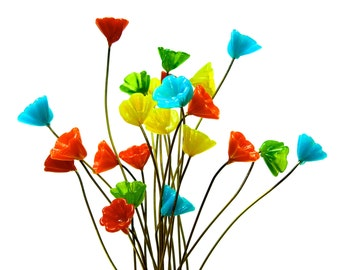 supply 14 colorful glass flower headpin millinery flower beads glass flowers handcrafted sku 20 b2 00007262 os no - Glass Flowers
