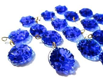 SUPPLY: 20 Blue Glass Charms with Brass Wire - Glass Charms - Glass Flowers - (4-A1-00003235)