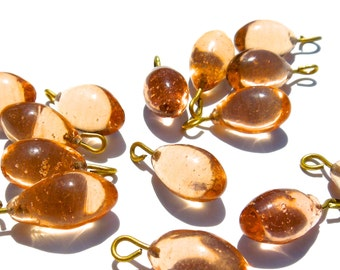SUPPLY: 20 Rustic Tea Rose Glass Charms with Brass Wire - (3-B3-00003241)
