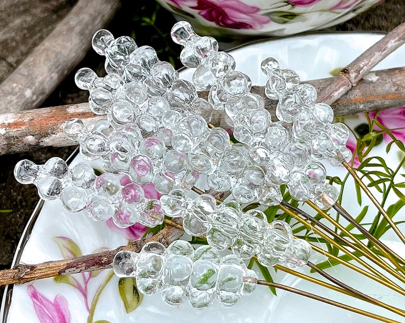 Beads Jewelry Making Pendants Flower Headpins Crafts Charms SUPPLY: 6 Clear Glass Cluster Headpins SKU 19-E1-00012376-os-70
