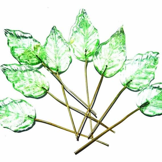 24 Pale Mint Cluster Glass Headpins Embedded Brass Wire Glass Drops SKU 12-A2-00012323 SUPPLY: Bulk Lot