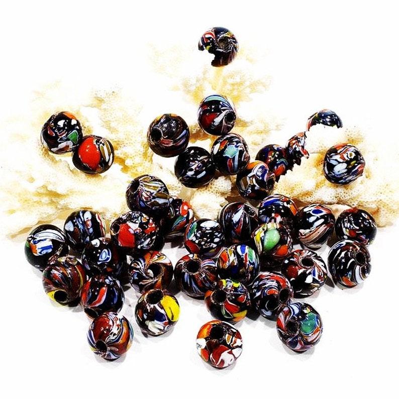 Large Hole Beads SKU 6-F3-00016677 Macram\u00e9 Beads VINTAGE: 10 LARGE Old Trade Glass  Beads