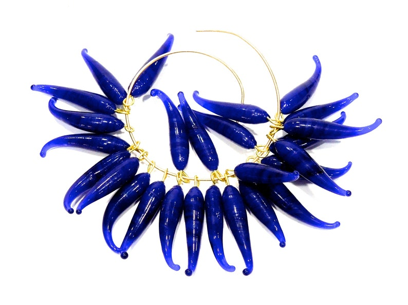 Lamp Work Glass Beads SUPPLY: 14 Blue Glass Drop Charms with Brass Wire Jewelry Making SKU 6-A4-00028915
