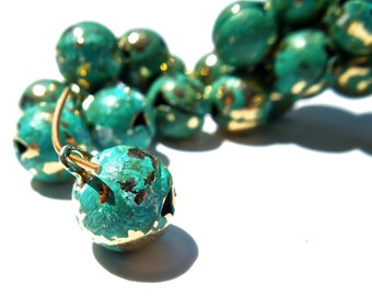 VINTAGE: 20 Distressed Enameled Bells - Gold Tone Bell Charms