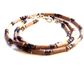 Hazelwood SET Tiger Eye &  Wood Free Shipping (gemstone) Therapeutic (Necklace-Bracelet or Anklet)