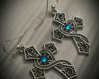 Turquoise Rhinestone Cross Earrings