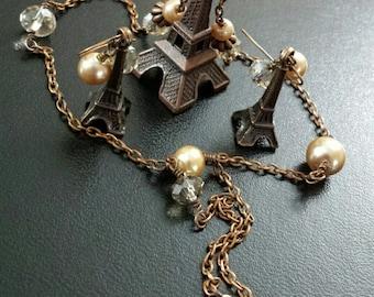Antique Copper Eiffel Tower Pearl/Austrian Crystal Necklace & Earrings