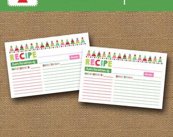 Printable Christmas Recipe Card Instant Download Recipe Card Colorful Christmas Tree Diy Printable Modern Christmas Tree Recipe Card
