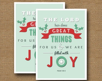 retro christmas typography card diy printable filled with joy christian christmas scripture christmas bible verse instant download - Christmas Scripture For Cards