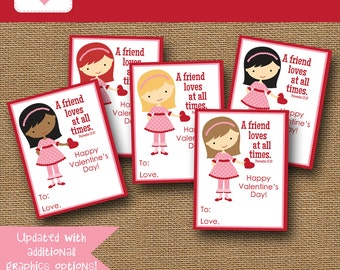 NEW - More Options Included | Friend Valentine | DIY PRINTABLE | Girls Scripture, Bible Valentine | Instant Download | Girls Friendship Card
