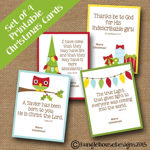 kids printable christmas cards cute scripture christmas etsy