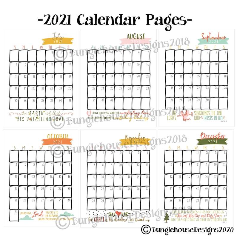 2021 Printable Calendar with Scripture Bible Verses ...