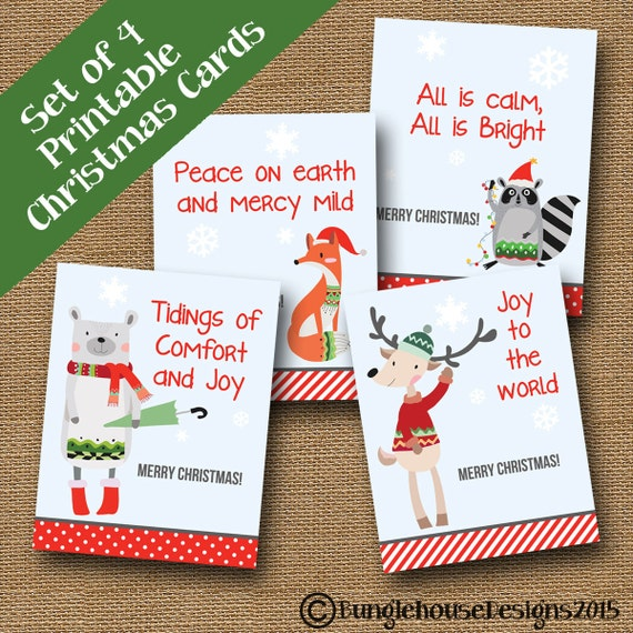 kids printable christmas cards woodland animal christmas etsy