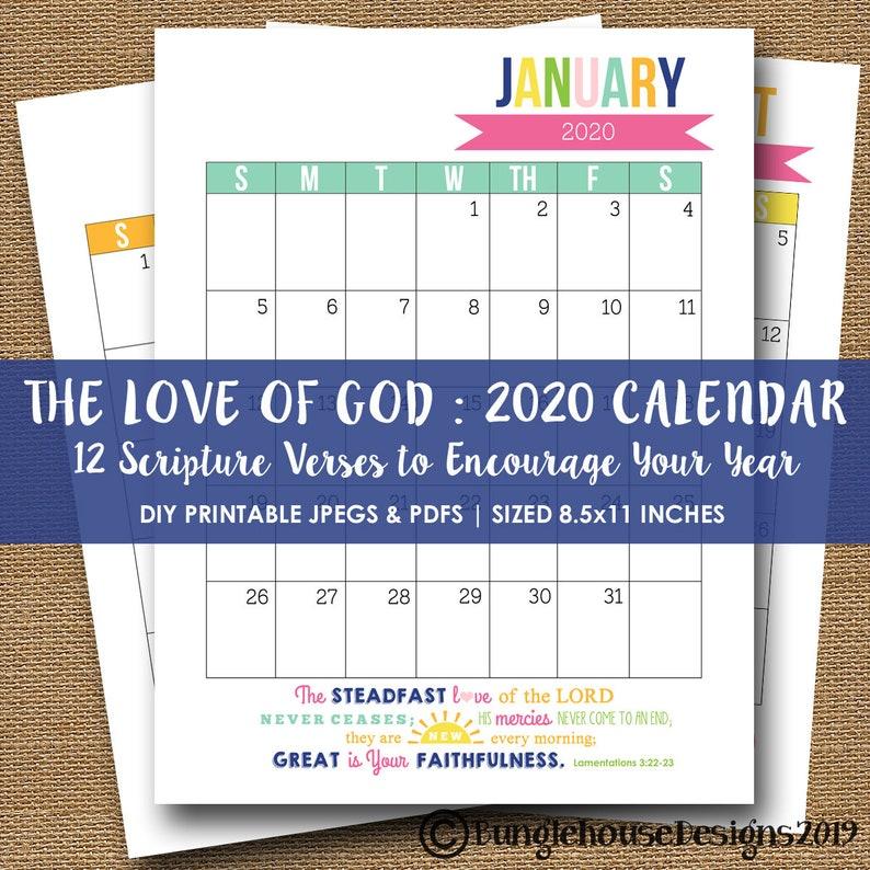 2020 Printable Calendar 2020 Scripture Bible Verse