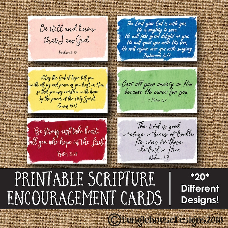image regarding Printable Scriptures referred to as Bible Verse Encouragement Playing cards Printable Scripture Memory Verses  Watercolor Lunch Notes Youngsters Aiding Scriptures Do it yourself PRINTABLE