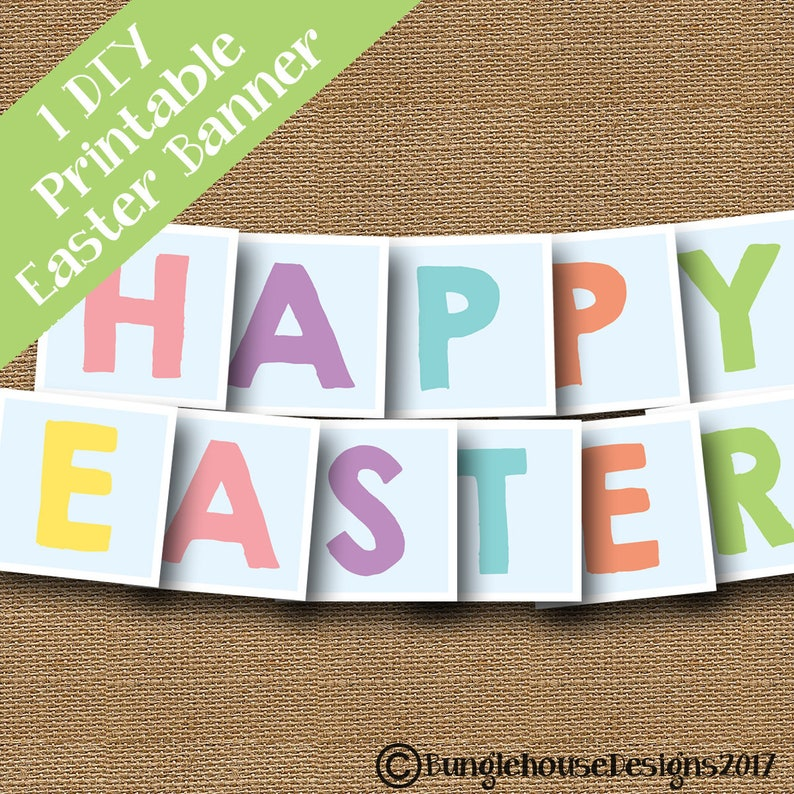 photograph relating to Easter Banner Printable known as Joyful Easter Banner Printable Easter Banner with Cross Easter Lunch Decoration Spring Banner Obtain Easter Decor Do it yourself PRINTABLE