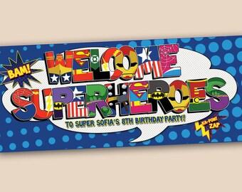 Personalized Superhero Birthday Banner - digital file