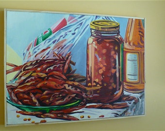 Chili Sauce--An Original Still Life Painting of Dried Chile Peppers, Chili Sauce, and Chili Oil