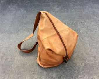 Over Your Shoulder -- Leather zippered crossbody shoulder sling bag -- Made in Columbia