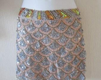 ceb1c74b63 Sequin Scalloped Design Mini Skirt.