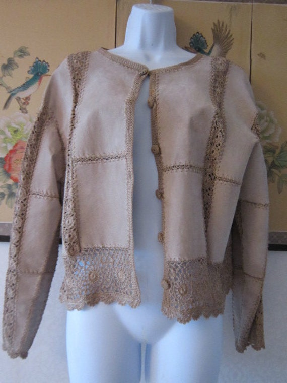 Tan Suede Patch Work Embroidered Jacket
