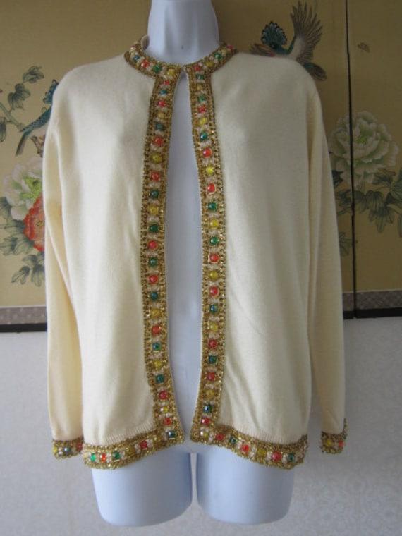 Beautiful Beaded Cream colored Cashmere Cardigan