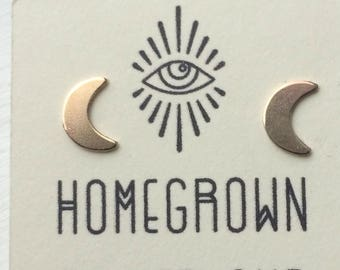 Brass and Sterling Silver Crescent moon stud earrings.