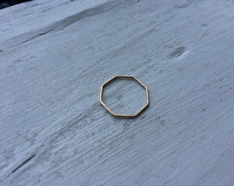 Octagon Thin Hammered 14k Gold Fill Stacking Ring - Yellow or Rose Gold - custom made to order - Ready to Ship