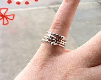 Free Form Asymmetrical Sterling Silver Stacking Ring - Recycled Silver - custom made to order
