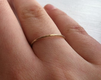 1mm 18g 14k Yellow Gold Fill Thin Stacking Ring Hammered Finished Textured - custom made to order - Ready to Ship