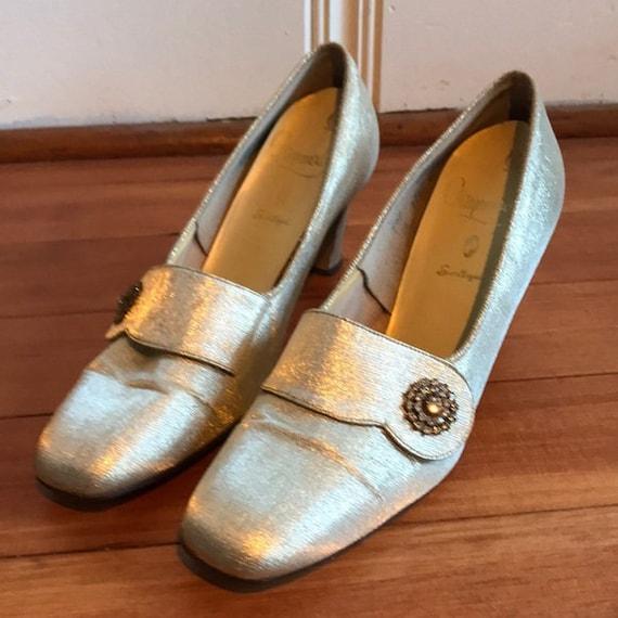 Vintage Gold Silver Lamé Pilgrim shoes