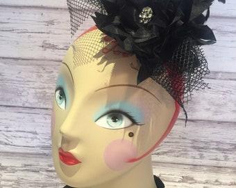 royal wedding fascinator, mini top hat, hair piece, over the top, fascinator, black hair accessory