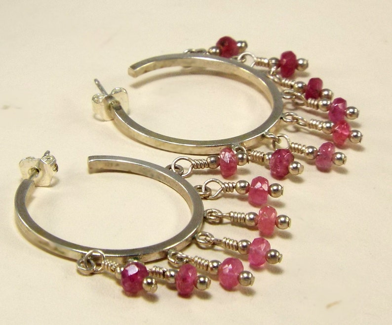 Pink 925 Hoop Earrings Pink Tourmaline 925 Chandelier Hoop image 0