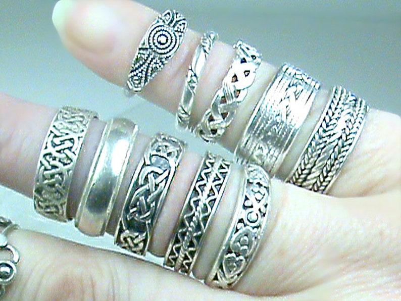 Sterling Silver Band Ring Celtic 925 Bands Vintage Sterling image 0