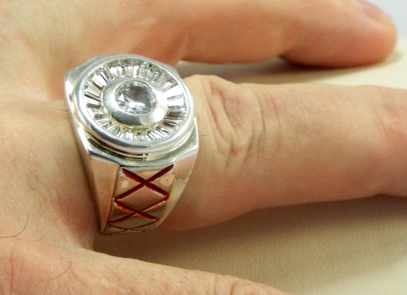 Triple XXX Mens Large Square Face Ring w/ 20 Baguette Circle image 0
