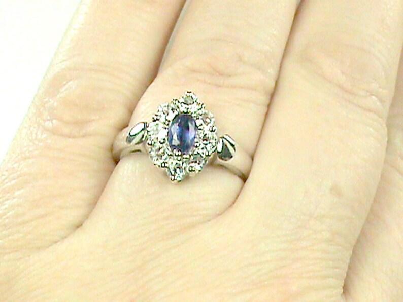Blue Kyanite & Real Zircon 925 Beautiful NOS Wedding Ring image 0