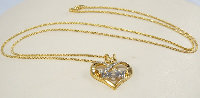 MOM Heart Necklace 18k Yellow Gold Over 925Mothers Day 18k image 0