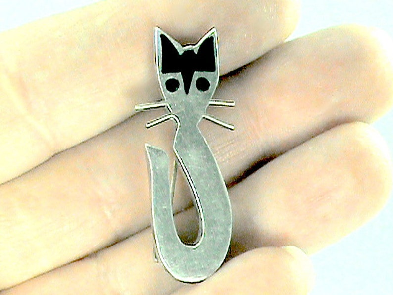 FELIX the Cat 925 Taxco Brooch Black n White Sterling Kitty image 0