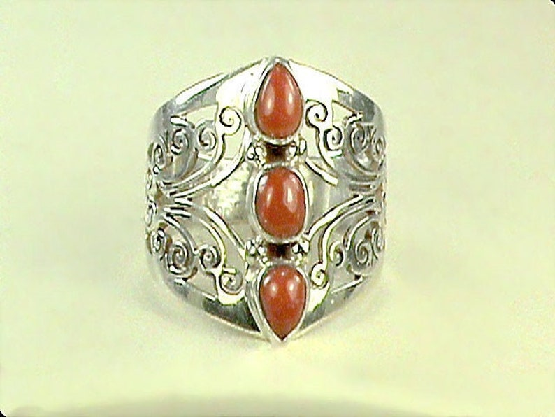 Old World Knight Style 925 Ring Indonesian Triple Stone Coral image 0