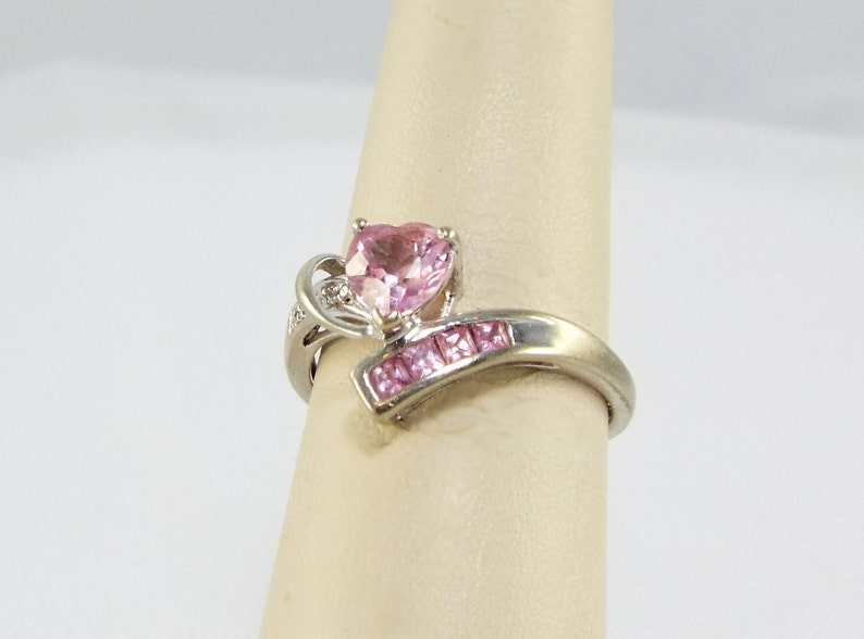 Pink Ice Sapphire Heart 10K White Gold Ring Princess Cut image 0