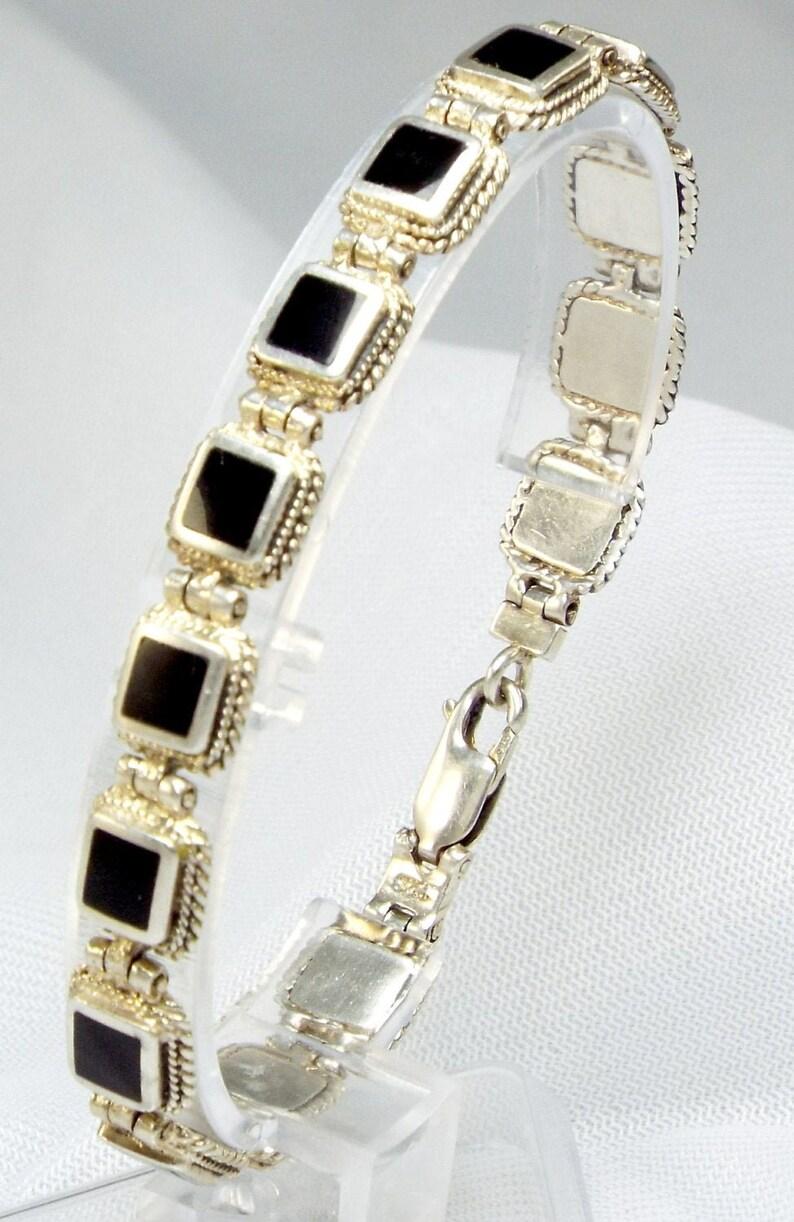 3D Black Box 925 Sterling Silver Tennis Bracelet Twised image 0