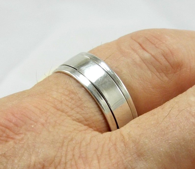 Spinner Man's 925 Sterling Silver Band High Polished 925 image 0