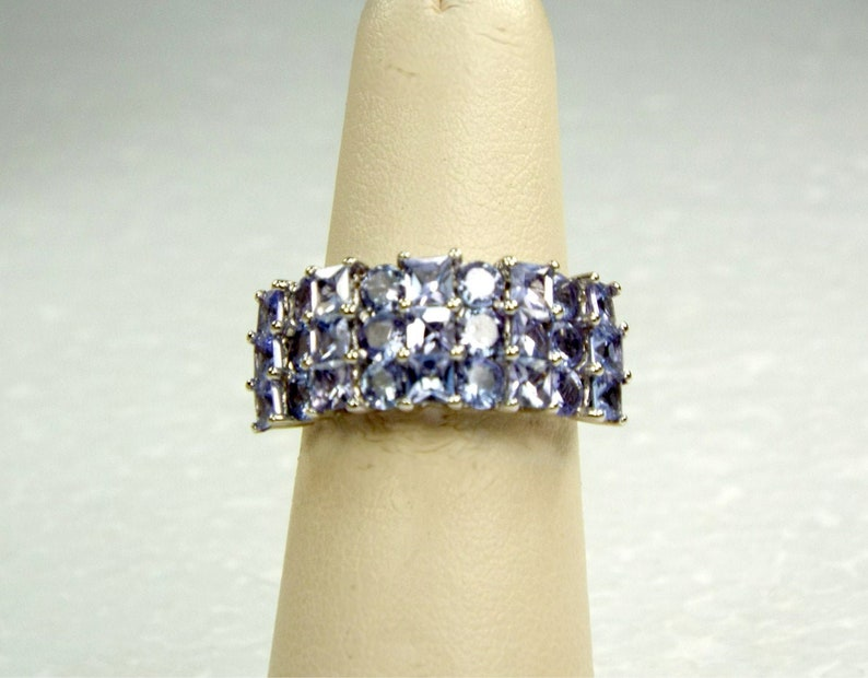Princess Cut Tanzanite 10K White Gold Band Ring Round & image 0