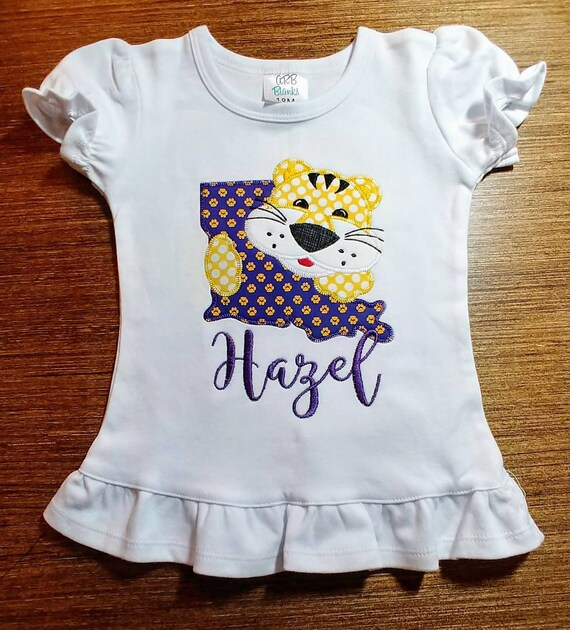 Personalized Girl Tiger Football Shirt Tiger Applique Girl Etsy