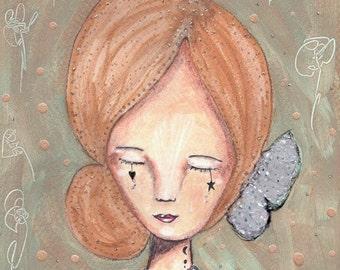 An Angel of Kindness and Love. Original art. Fine Art Print, Original Art Work, Angel Art, Original Painting, Mixed Media Art